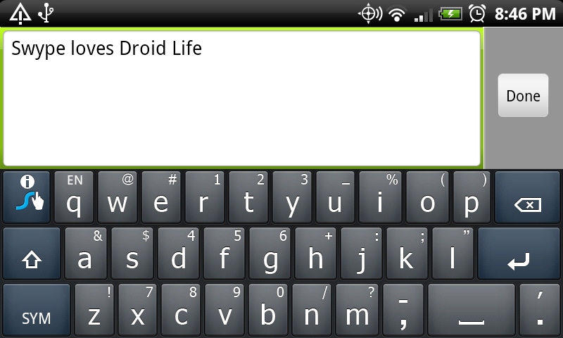swype droid life
