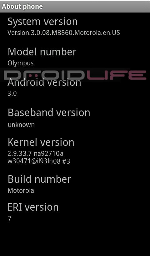 motorola olympus dl - Screenshot do Motorola Olympus rodando Android 3.0, Gingerbread?