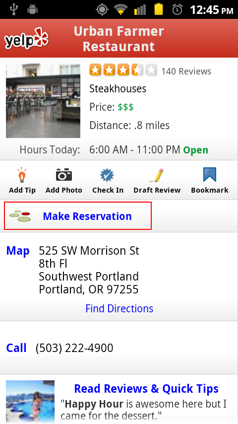 Yelp For Android Updated Make OpenTable Reservations Without - Open table app for android