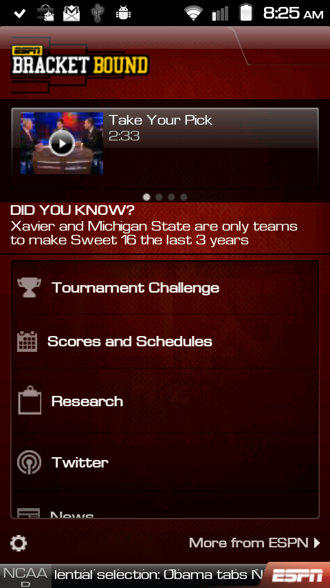 Espn Bracket Bound 2011 Lets You Track Your Picks And The