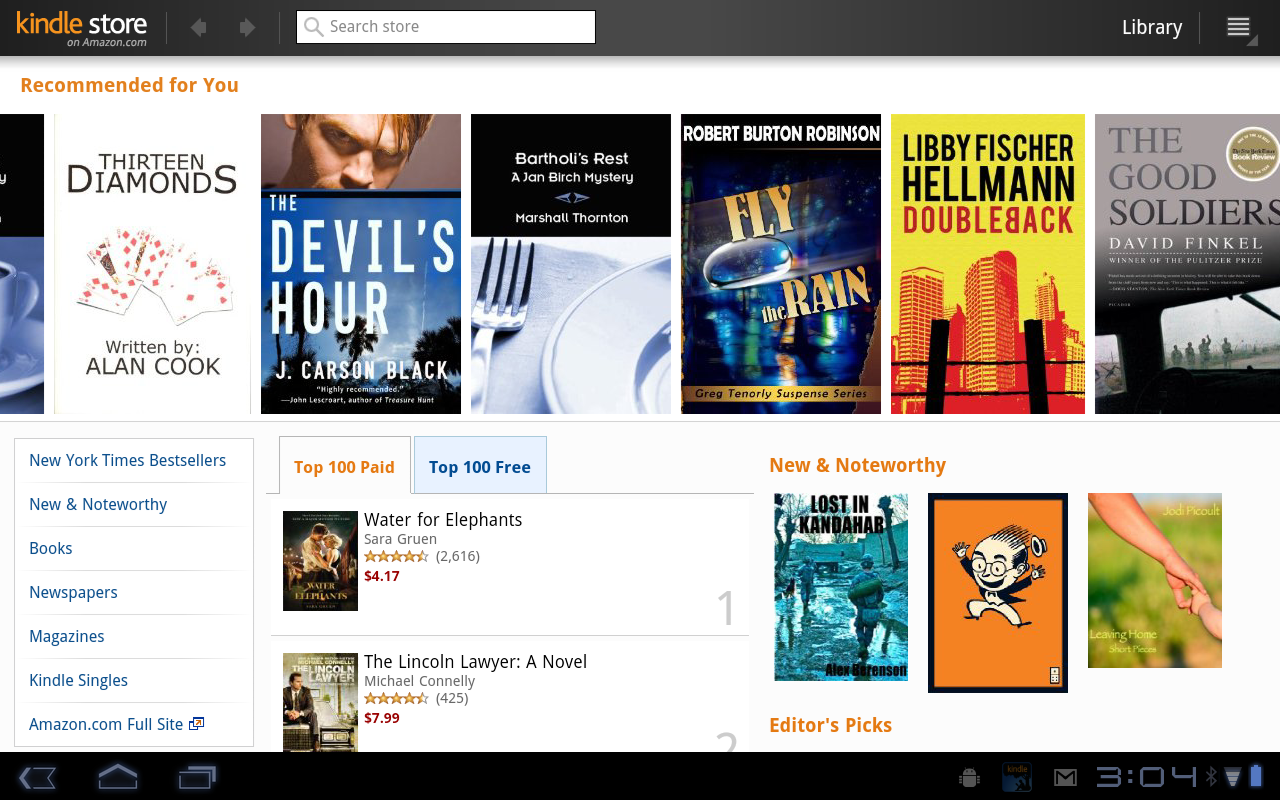 Amazon Kindle App Updates, Now Supports Honeycomb Tablets and Larger