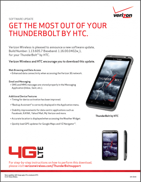 HTC Thunderbolt Update is Ready: Enhances 3G Connectivity ...