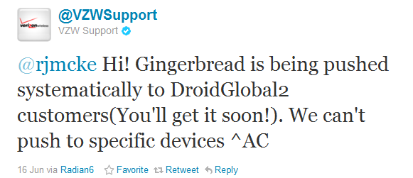 Droid2 Global tweet