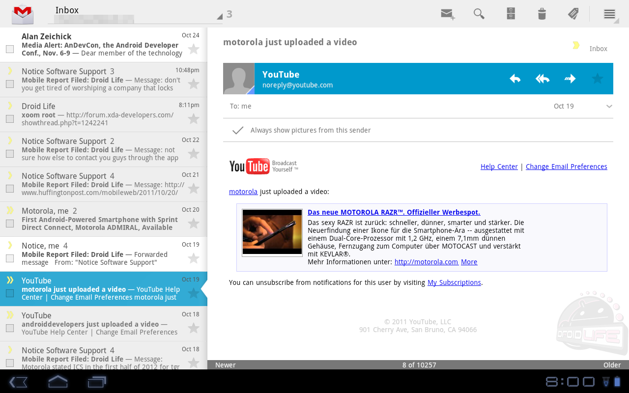 Gmail From Ice Cream Sandwich Works on the Motorola XOOM – Droid Life