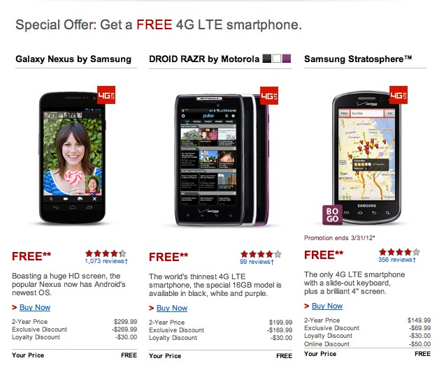 Verizon gives free Galaxy Nexus, Motorola RAZR & Samsung Stratosphere to loyal customers