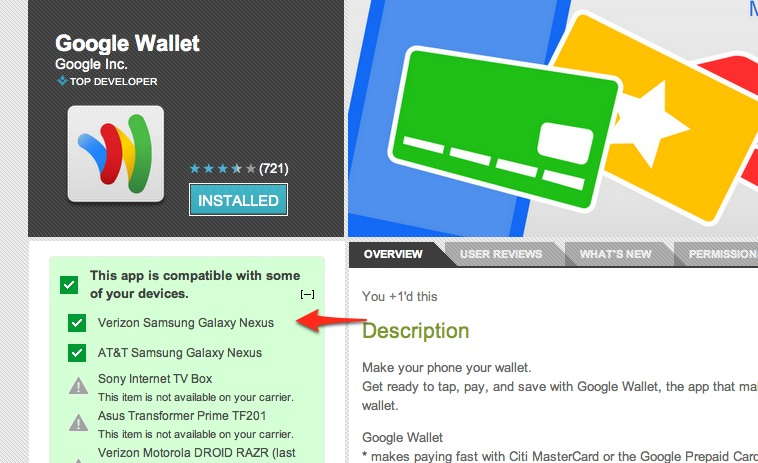 verizon nexus google wallet