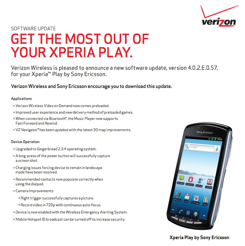 Verizon's Sony Xperia Play Update Incoming as Build 4 0 2 E