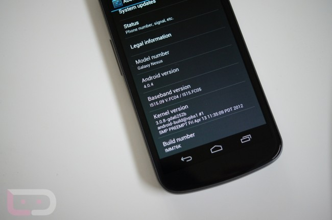 Verizon Galaxy Nexus Ice Cream Sandwich update