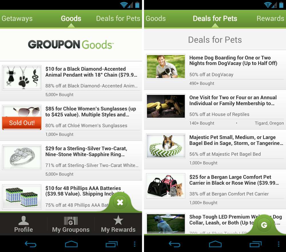 Groupon and Facebook Updated in Google Play, Groupon Sees UI Overhaul ...