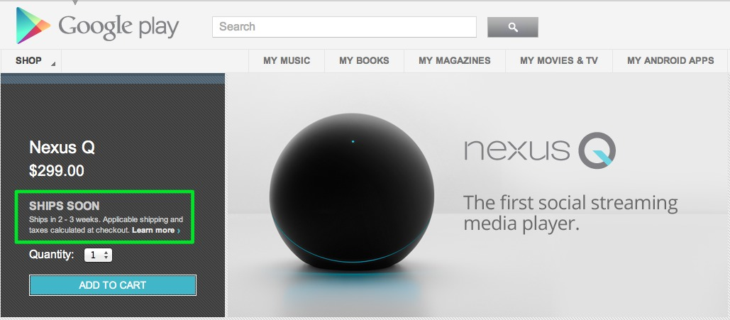 > Nexus Q stock sold out - Photo posted in BX Tech | Sign in and leave a comment below!