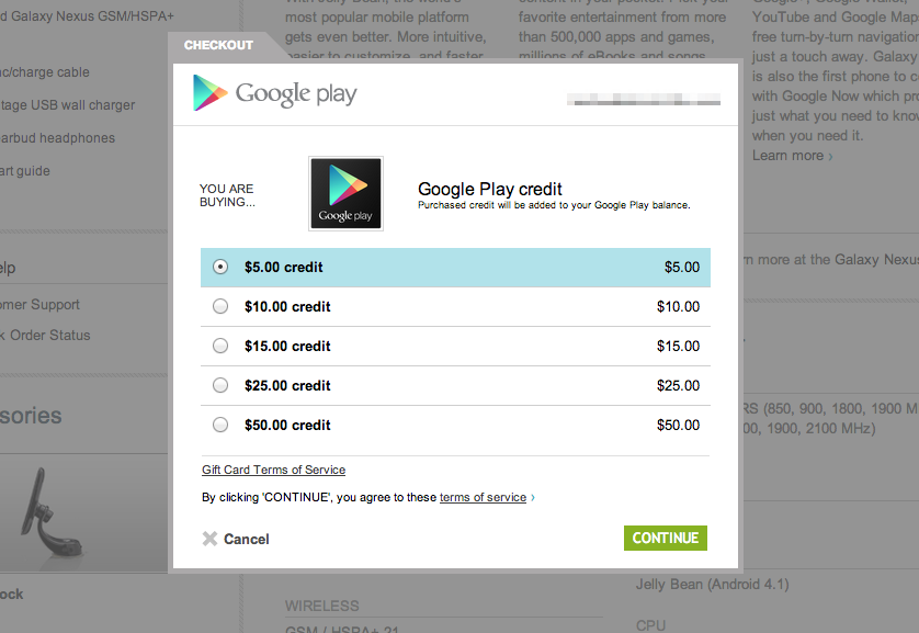 users can buy google play credit from 5 to 50 directly from the