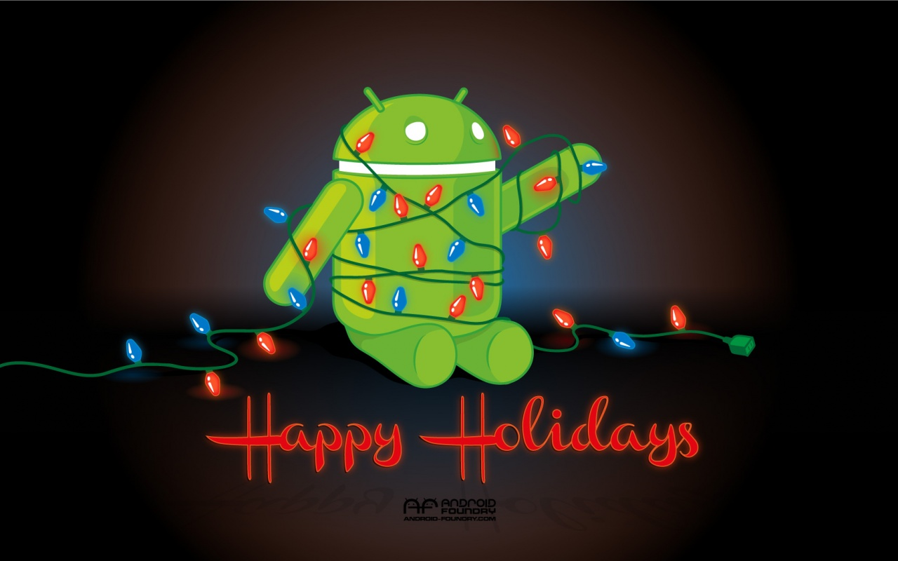 Download: Android in Lights Holiday Wallpaper