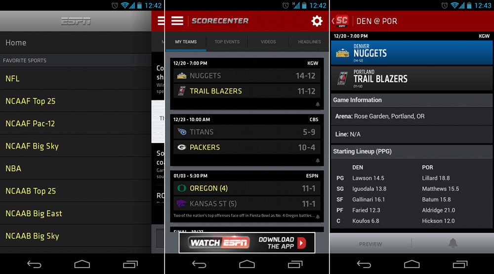 ESPN Scorecenter for Android Receives Complete UI Overhaul