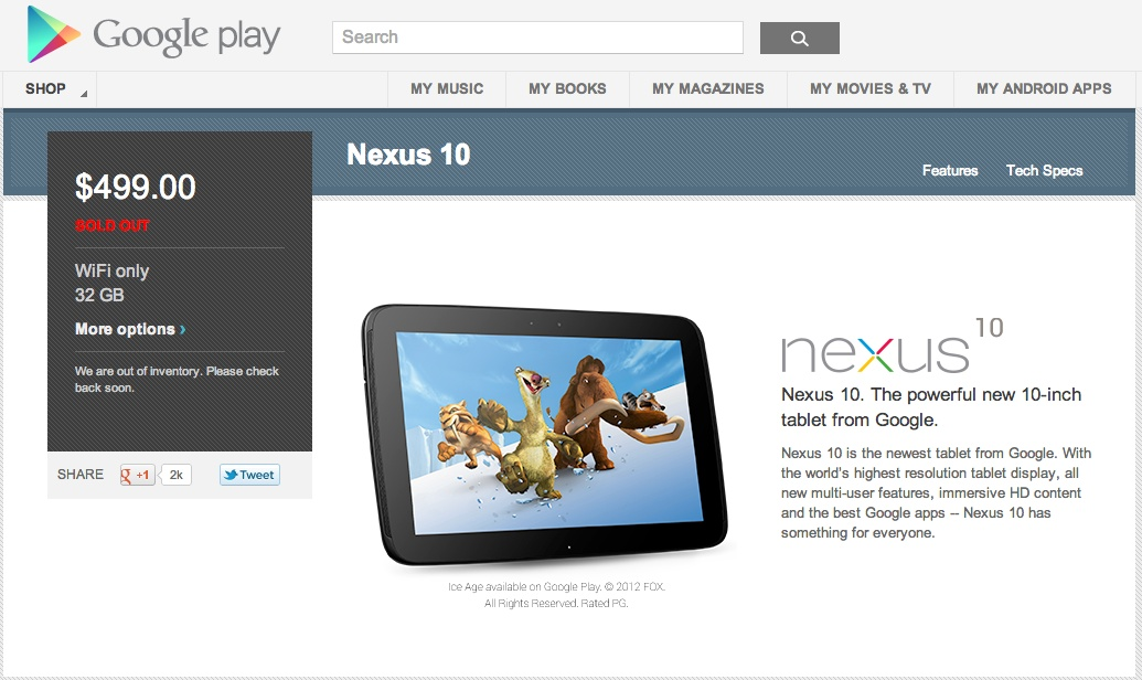 nexus 10 sold out