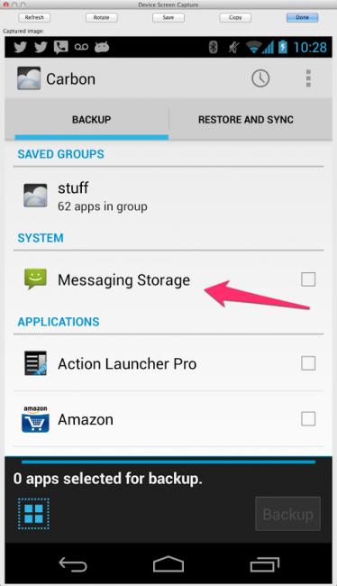 Carbon SMS Backup