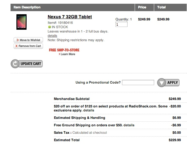 RADIOSHACK nexus 7 deal