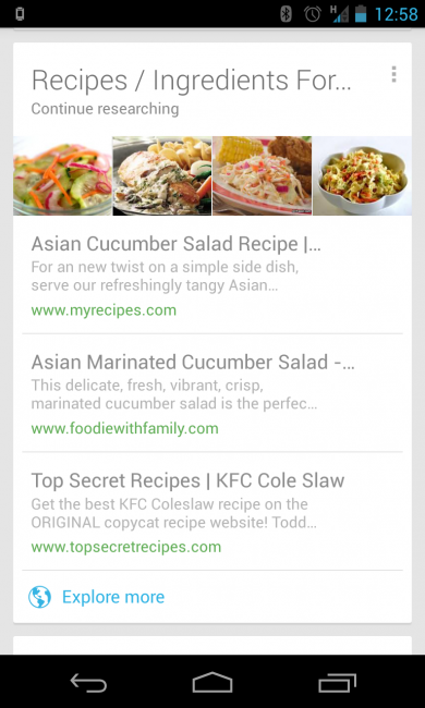 google now recipe search
