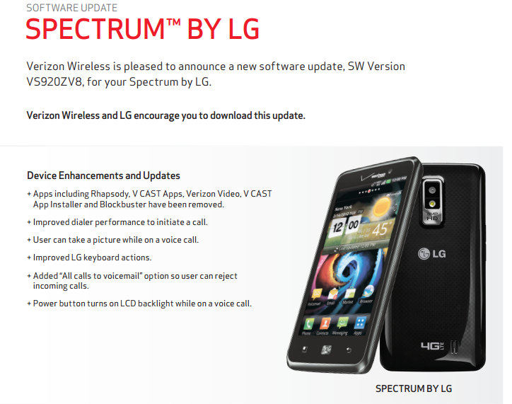 Verizon Approves LG Spectrum Update – Removes Bloat and