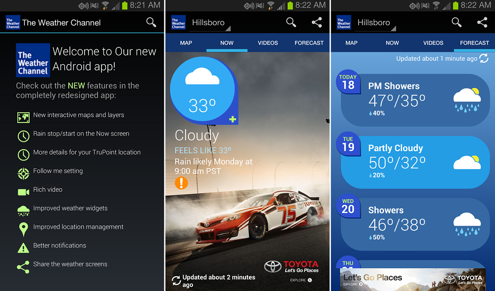 the weather channel for android receives visually