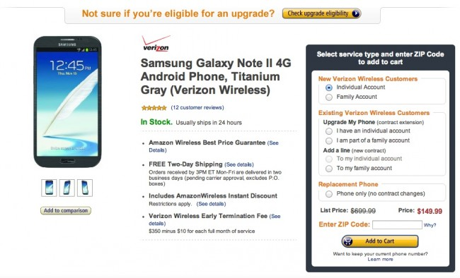 amazon note 2 deal