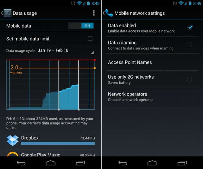 mobile data android