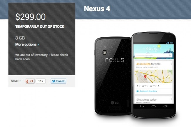nexus 4 8gb out of stock
