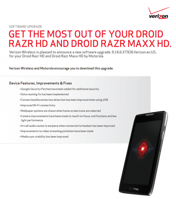 RAZR HD MAXX Update