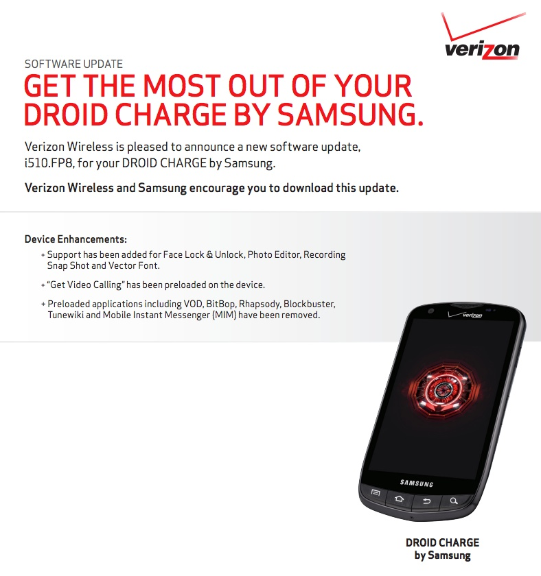 droid charge update approved by verizon includes face. Black Bedroom Furniture Sets. Home Design Ideas