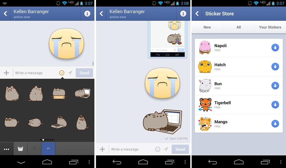 Facebook Messenger Updated, Brings Adorable Cat Stickers