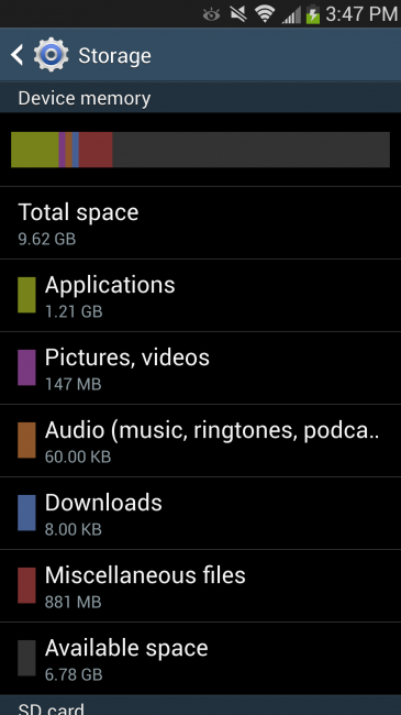 Galaxy S4 storage
