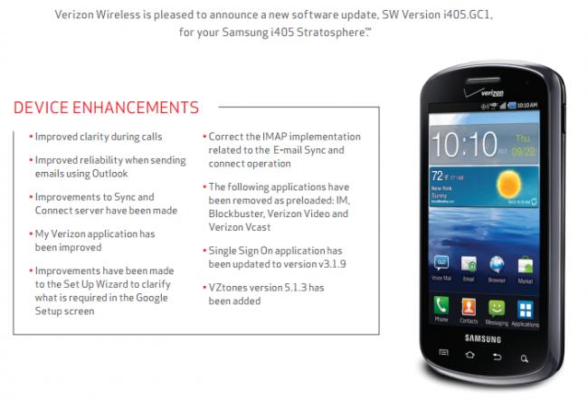Samsung Stratosphere Update
