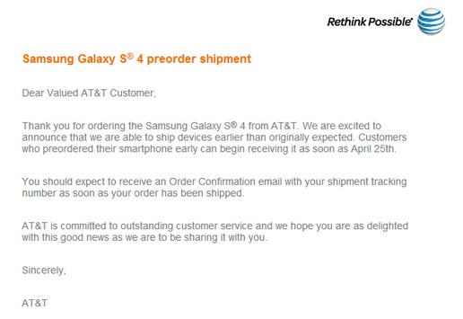 galaxy s4 ship early
