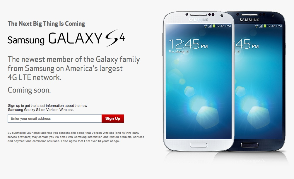 Sign-up Page for Verizon's Samsung Galaxy S4 is Live – Droid