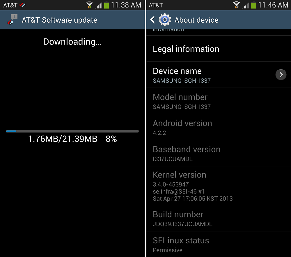 AT&T Galaxy S4 Receiving Update to Build Number I337UCUAMDL