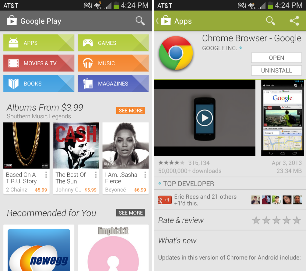 Google Play Updated To Version 4.1.6, Brings Sporty