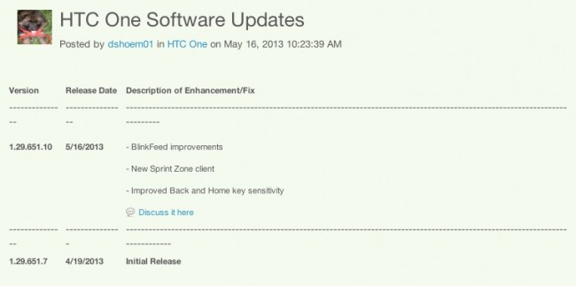 sprint htc one update