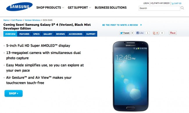 vzw galaxy s4 dev edition