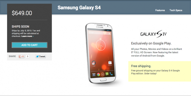 galaxy s4 google play edition