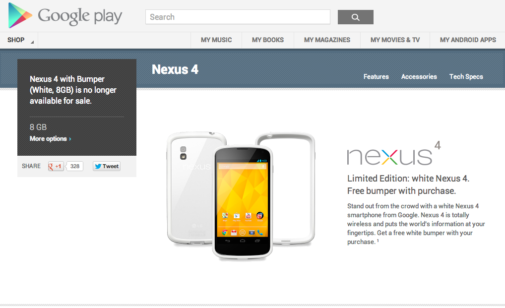 White Nexus 4 8GB With Bumper is No Longer for Sale ...