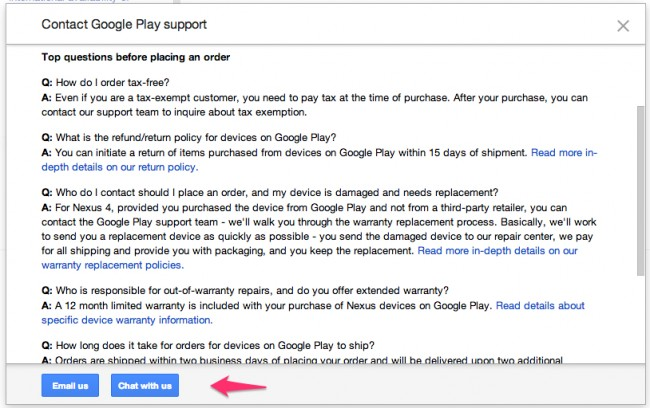 Screen Shot 2013 06 28 at 3.54.31 PM 650x408 - FYI: Google Play Support Now has Live Chat for Questions About Device Purchases
