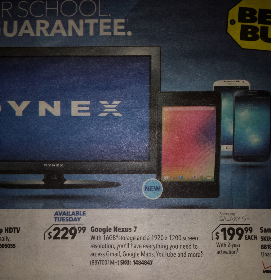 Best Buy Ad Shows July 30 Launch Date 229 Price And 1920x1200 Resolution For The New Nexus 7