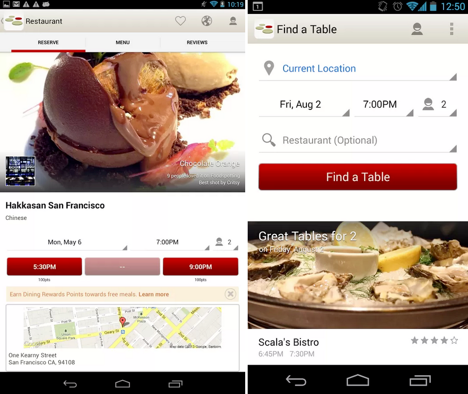OpenTable For Android Updated Brings Overhauled Search Results - Open table app for android
