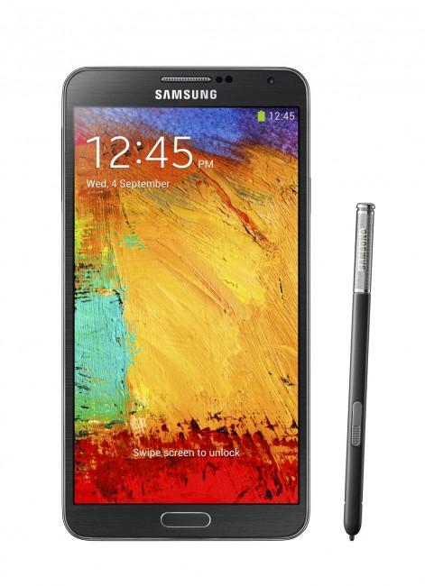 Galaxy Note3_002_front with pen_Jet Black