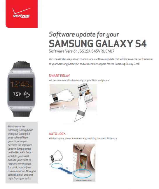 verizon galaxy s4 gear update