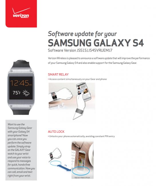 verizon galaxy s4 gear update