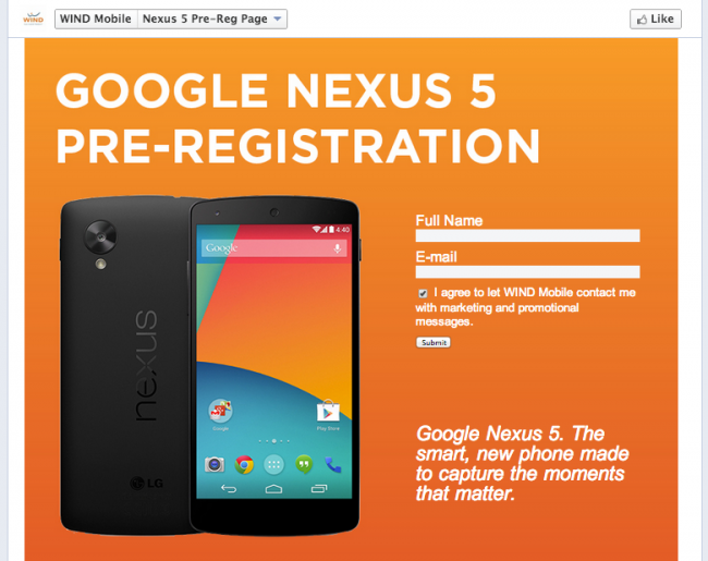 "WIND Mobile Posts Nexus 5 Registration Page, Along With ""Official"" Specs List"