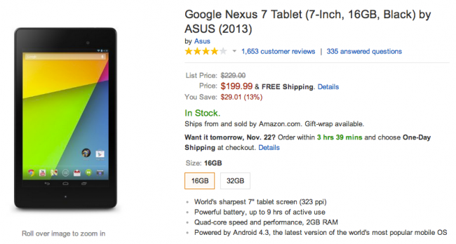 Nexus 7 Amazon Deal