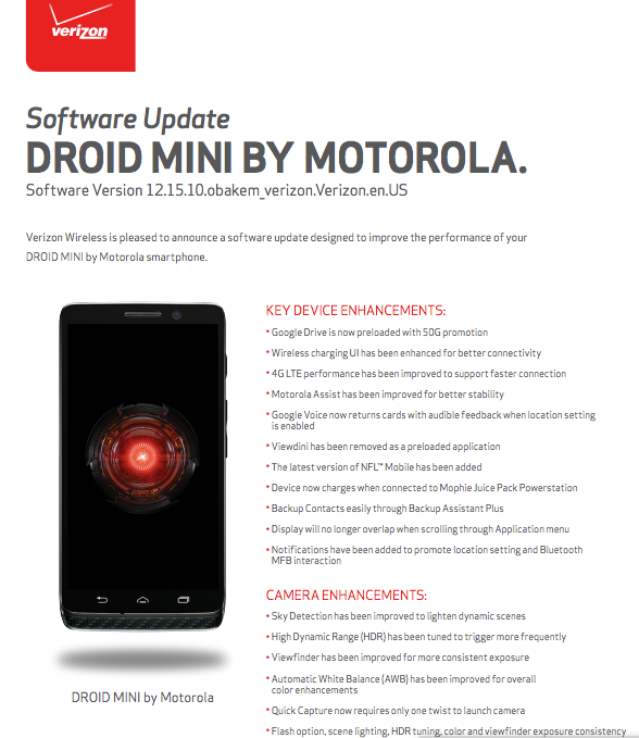 Verizon Also Pushed Out Updates to the DROID Mini, RAZR M