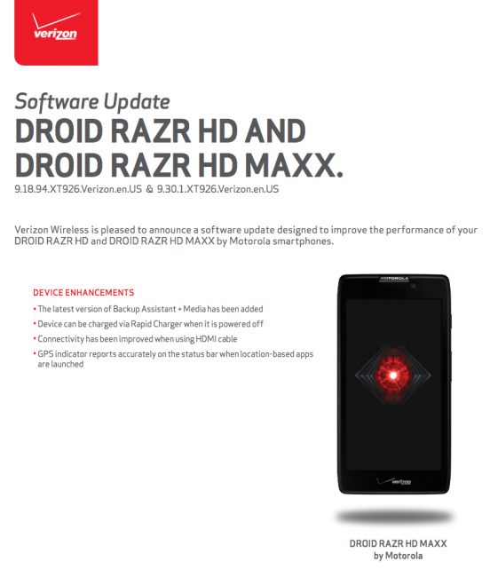 DROID RAZR HD and MAXX HD Receiving Bug Fixing Update to 9.18.94 and 9.30.1