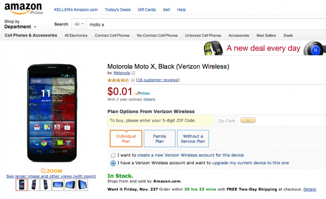 moto x amazon deal